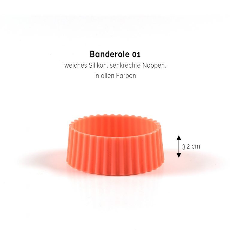 Bambusbecher bedrucken Bandarole noppen orange